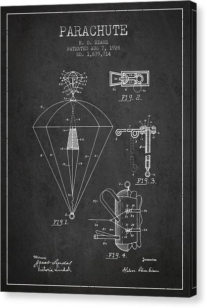 Skydiving Canvas Print - Parachute Patent From 1928 - Charcoal by Aged Pixel