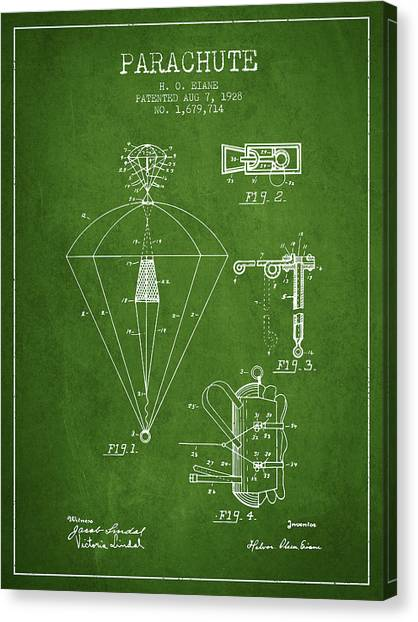 Skydiving Canvas Print - Parachute Patent From 1928 - Green by Aged Pixel
