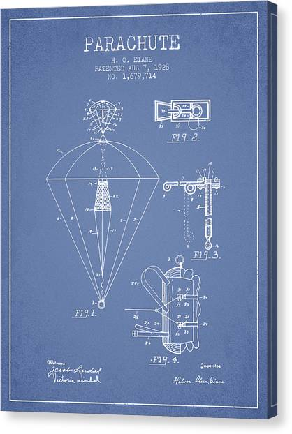 Skydiving Canvas Print - Parachute Patent From 1928 - Light Blue by Aged Pixel
