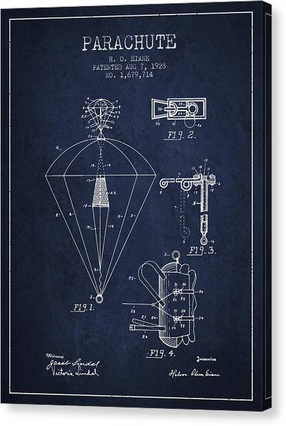 Paratroopers Canvas Print - Parachute Patent From 1928 - Navy Blue by Aged Pixel