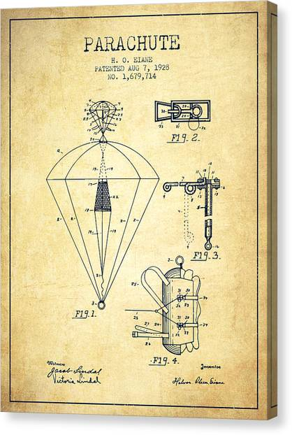 Skydiving Canvas Print - Parachute Patent From 1928 - Vintage by Aged Pixel