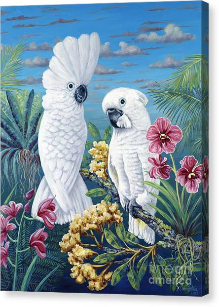 Cockatoos Canvas Print - Paradise For Too by Danielle  Perry
