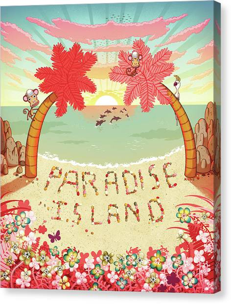 Paradise Island Written In Pebbles On Canvas Print