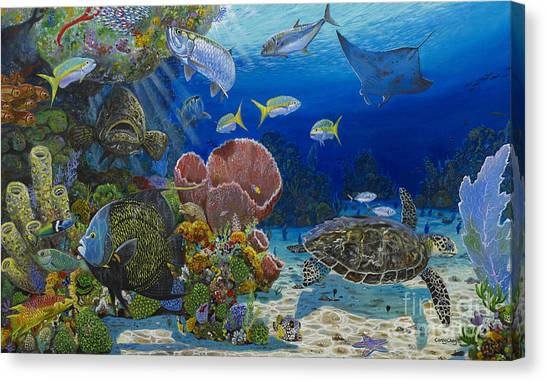 Spearfishing Canvas Print - Paradise Re0012 by Carey Chen