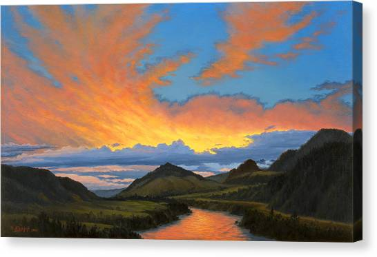 Yellowstone Canvas Print - Paradise Valley Sunset  by Paul Krapf