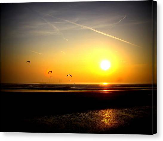 Paragliders At Sunset Canvas Print