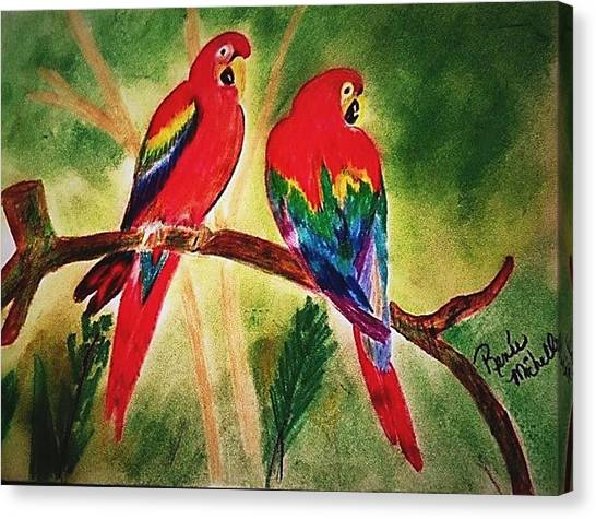 Parakeets In Paradise Canvas Print