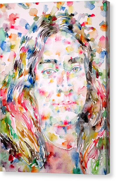 Yogi Canvas Print - Paramahansa Yogananda Watercolor Portrait by Fabrizio Cassetta