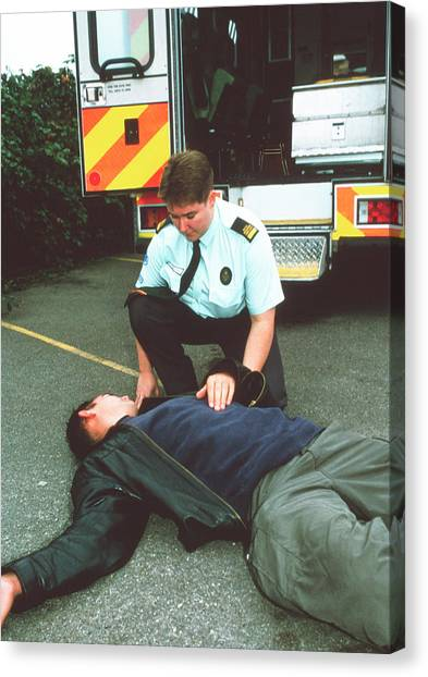 Unconscious Canvas Print - Paramedic Treatment by Annabella Bluesky/science Photo Library