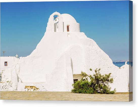 Paraportiani  Ancient Church In Mykonos Canvas Print