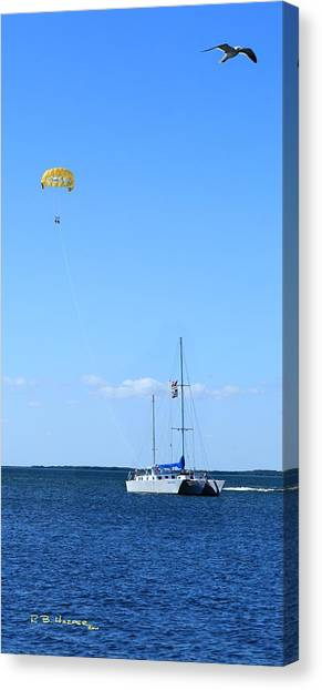 Canvas Print featuring the photograph Parasailing by R B Harper