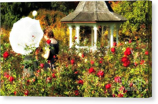 Parasol In Rose Garden Canvas Print