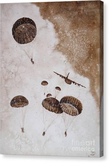 Paratroopers Canvas Print - Paratroopers by Zaira Dzhaubaeva