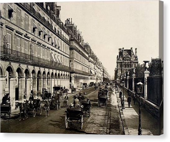 Paris 1900 Rue De Rivoli Canvas Print