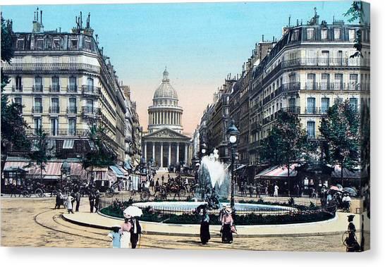 Paris 1910 Rue Soufflot And Pantheon Canvas Print
