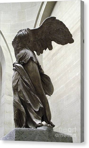 Louvre Canvas Print - Paris Angel Louvre Museum- Winged Victory Of Samothrace by Kathy Fornal