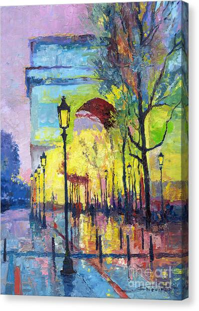 Oil On Canvas Print - Paris Arc De Triomphie  by Yuriy Shevchuk
