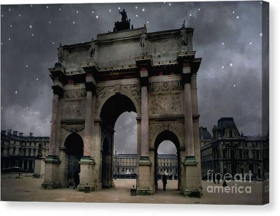 The Louvre Canvas Print - Paris Arc Du Carousel - Louvre Museum Arc De Triomphe - Starry Night Blue Paris Louvre Courtyard by Kathy Fornal