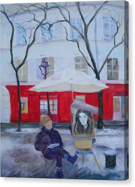 Parisian Canvas Print - Paris Artist, 2010 Oil On Canvas by Antonia Myatt