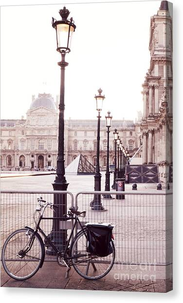Louvre Canvas Print - Paris Bicycle Louvre Museum - Paris Bicycle Street Lantern - Paris Bicycle Louvre Museum Street Lamp by Kathy Fornal