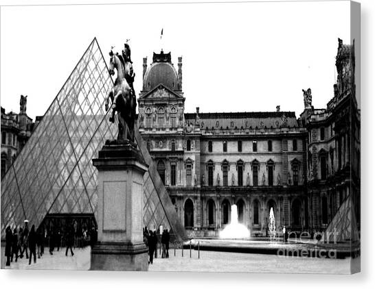 Louvre Canvas Print - Paris Black And White Photography - Louvre Museum Pyramid Black White Architecture Landmark by Kathy Fornal