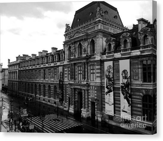 The Louvre Canvas Print - Paris Black And White Vintage Louvre Photography - Paris Louvre Museum Architecture  by Kathy Fornal