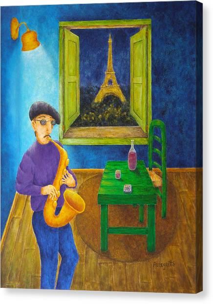 Green Berets Canvas Print - Paris Blues by Pamela Allegretto