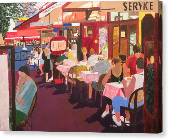 Paris Cafe At Dusk Canvas Print