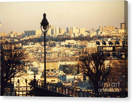 Sacre Coeur Canvas Print - Paris Cityscape Sunset Panoramic View - Paris At Sunset Dusk - Paris City Of Light Aerial View Photo by Kathy Fornal
