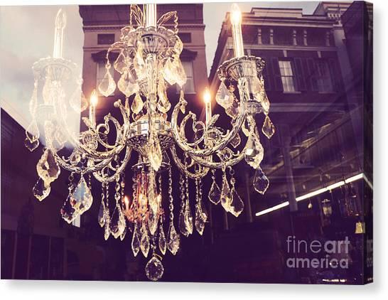 Parisian Canvas Print - Paris Crystal Chandelier Sparkling Lights - Golden Paris Chandelier Window Reflections by Kathy Fornal