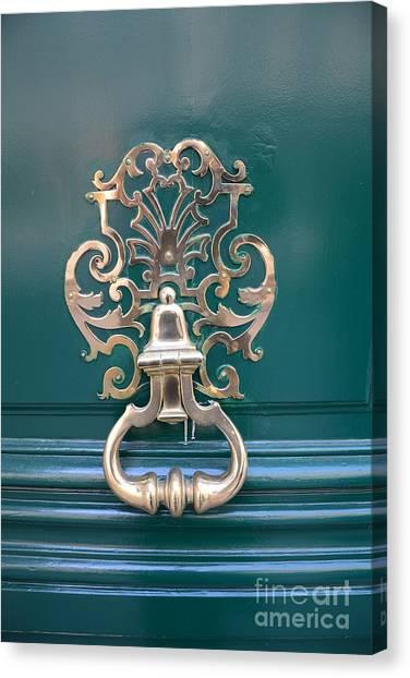 Door Knockers Canvas Print - Paris Door Photography - Paris Green Teal Door Knocker - Paris Door Architecture - Doors Of Paris by Kathy Fornal
