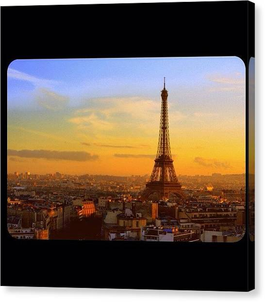 Paris Canvas Print - #paris #eiffel #eyfel #streets #sunset by Ozan Goren