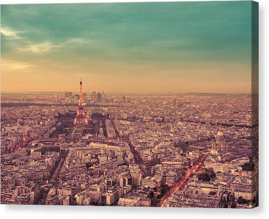 City Sunsets Canvas Print - Paris - Eiffel Tower And Cityscape At Sunset by Vivienne Gucwa