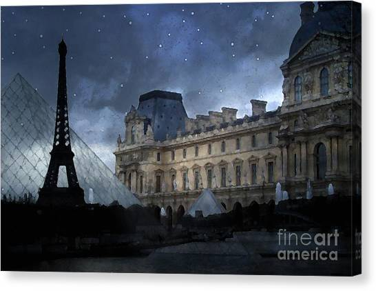 The Louvre Canvas Print - Paris Eiffel Tower With Louvre Museum Montage Photo Painting - Paris Architecture And Landmarks  by Kathy Fornal