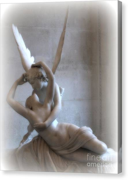 Angel Art By Kathy Fornal Canvas Print - Paris Eros And Psyche Angels Louvre Museum - Paris Angel Art - Paris Romantic Eros And Psyche Art  by Kathy Fornal