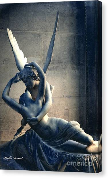 Cupid Canvas Print - Paris Eros And Psyche Romantic Lovers - Paris In Love Eros And Psyche Louvre Sculpture  by Kathy Fornal
