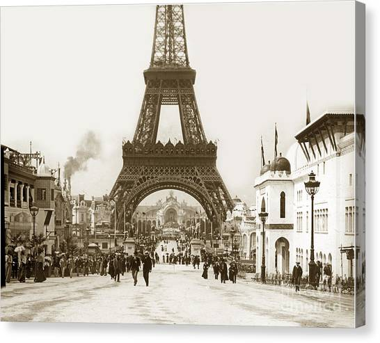 Paris Exposition Eiffel Tower Paris France 1900  Historical Photos Canvas Print