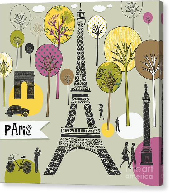 Type Canvas Print - Paris France Art Print by Lavandaart