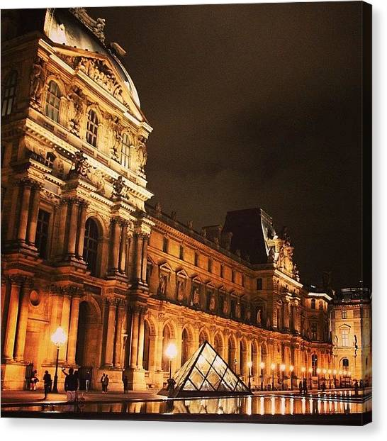 Paris Canvas Print - #paris #france #louvre #night by Luisa Azzolini