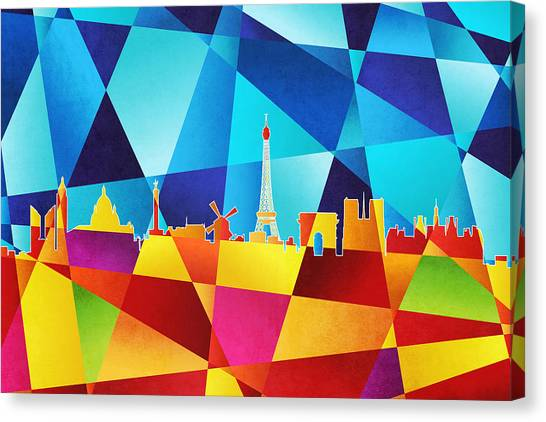 Contemporary Canvas Print - Paris France Skyline by Michael Tompsett