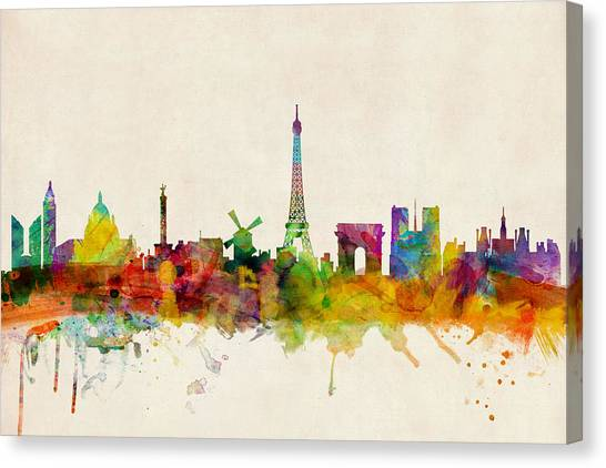 Eiffel Tower Canvas Print - Paris France Skyline Panoramic by Michael Tompsett