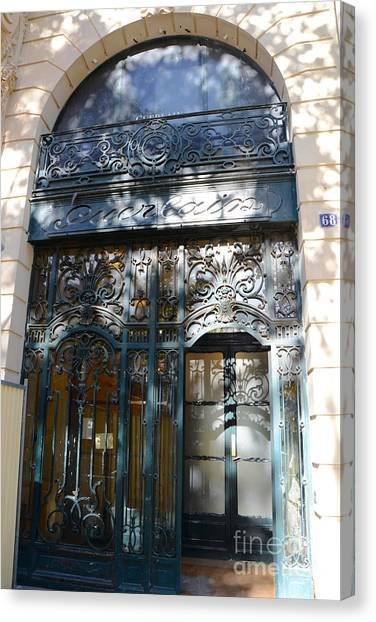 Storefront Canvas Print - Paris Guerlain Storefront Boutique - Paris Guerlain Blue Door Art Nouveau Art Deco Door by Kathy Fornal