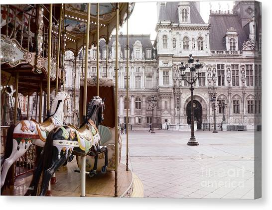 Dreamy Horse Canvas Print - Paris Hotel Deville - Paris Carousel Horses At Hotel Deville - Paris Pink Architecture Art Nouveau by Kathy Fornal