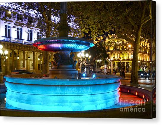 The Louvre Canvas Print - Paris Hotel Du Louvre - Lights And Fountain Place Andre Malraux - Paris Night Photography by Kathy Fornal