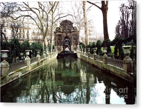 Jardin Canvas Print - Paris Jardin Du Luxembourg Gardens - Medici Fountain Sculpture Monuments Park  by Kathy Fornal