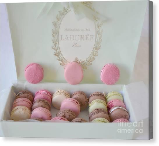 Paris Laduree Pastel Macarons - Paris Laduree Box - Paris Dreamy Pink Macarons - Laduree Macarons Canvas Print
