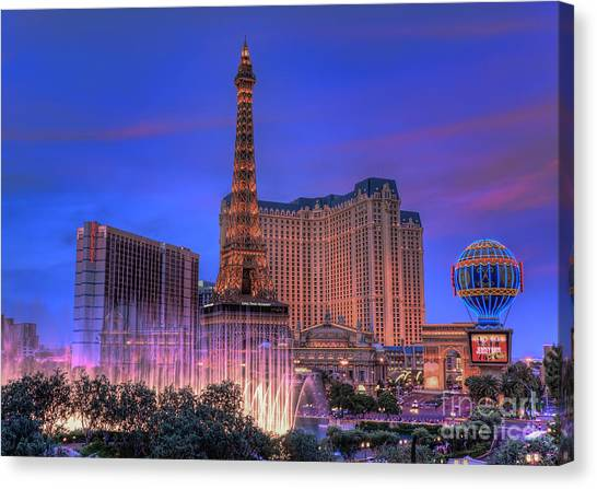 Paris Las Vegas At Sunset Canvas Print
