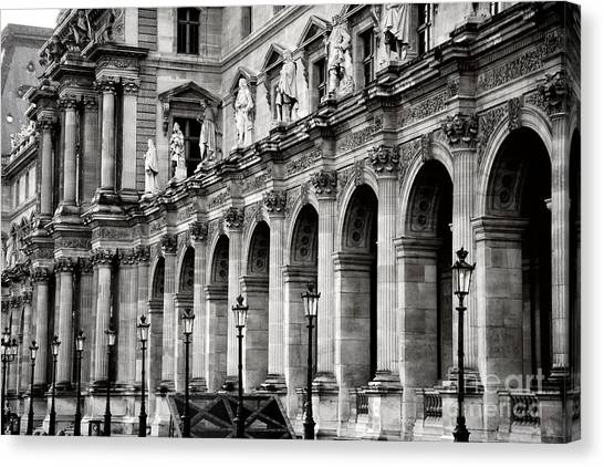 The Louvre Canvas Print - Paris Louvre Museum Architecture Street Lamps Lanterns - Louvre Museum Black And White  by Kathy Fornal