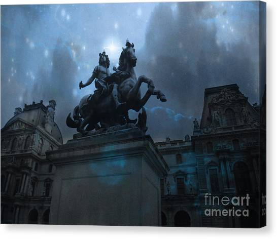 The Louvre Canvas Print - Paris Louvre Museum Blue Starry Night - King Louis Xiv Monument At Louvre Museum by Kathy Fornal
