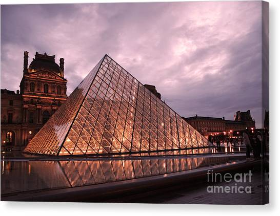 The Louvre Canvas Print - Paris Louvre Museum Dusk Twilight Night Lights - Louvre Pyramid Triangle Night Lights Architecture  by Kathy Fornal
